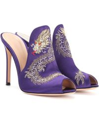 Gianvito Rossi - Dragon Embroidered Satin Mules - Lyst