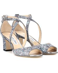 Jimmy Choo - Carrie 65 Glitter Sandals - Lyst