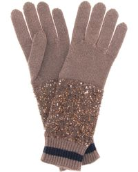 Brunello Cucinelli - Sequined Cashmere And Silk Gloves - Lyst