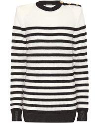Balmain - Striped Sweater - Lyst