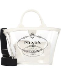 Prada - Printed Leather-trimmed Pvc Tote - Lyst