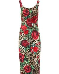 Dolce & Gabbana - Embellished Printed Midi Dress - Lyst