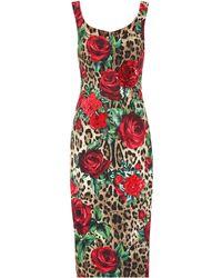 Dolce & Gabbana Vestido estampado con adornos - Rojo