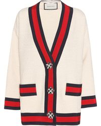 1a3ed1558 Gucci Embellished Tweed Cardigan in Red - Lyst