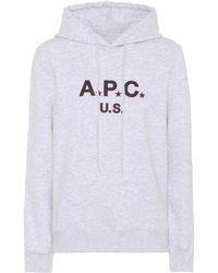 A.P.C. - U.s. Cotton Fleece Hoodie - Lyst