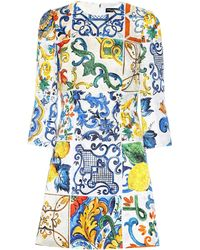 Dolce & Gabbana - Majolica-printed Jacquard Minidress - Lyst