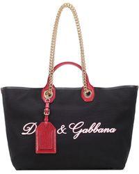 Dolce & Gabbana - Embroidered Canvas Shopper - Lyst