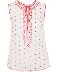 RED Valentino - Polka Dot Tie-neck Top - Lyst