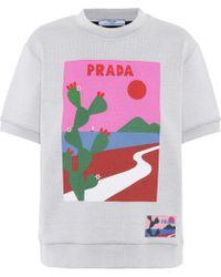 Lyst - Cactus print short sleeve sweatshirt Prada en coloris Gris 096b0ef55f9