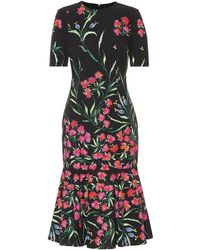 Carolina Herrera - Floral Stretch-cotton Midi Dress - Lyst