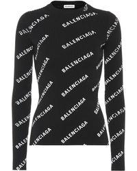 Balenciaga Pullover mit Logo-Print - Schwarz