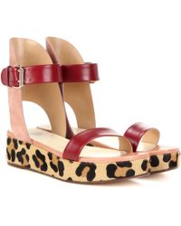 Francesco Russo - Leather, Suede And Calf Hair Sandals - Lyst