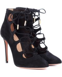 Aquazzura - Flirt Suede Ankle Boots - Lyst