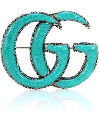 Gucci - Double G Sterling Silver And Turquoise Brooch - Lyst