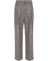 Brunello Cucinelli - Belted Plaid Wool Pants - Lyst