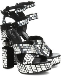 Balmain - Jenni Suede Embellished Sandals - Lyst