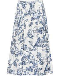 Oscar de la Renta - Pleated Floral-print Cotton-blend Midi Skirt - Lyst