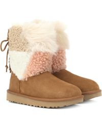 UGG - Classic Short Patchwork Fluff Ankle Boots - Lyst