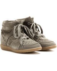 7b220741c7e Isabel Marant - Toile Bobby Concealed Wedge Suede Sneakers - Lyst