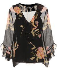 Polo Ralph Lauren - Ruffled Floral-printed Silk Blouse - Lyst