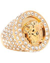 Versace - Crystal-embellished Medusa Ring - Lyst