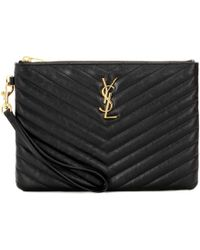 45e013b821 Lyst - Saint Laurent Monogram Zip Pouch in Black