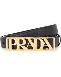 Prada - Leather Logo Belt - Lyst