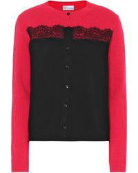 RED Valentino - Lace-trimmed Virgin Wool Cardigan - Lyst
