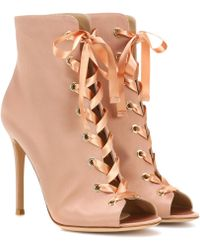 Gianvito Rossi - Exclusive To Mytheresa. Com – Marie Satin Peep-toe Ankle Boots - Lyst