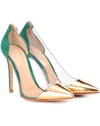 a5ffbf3177 Gianvito Rossi - Plexi 105 Leather And Suede Court Shoes - Lyst