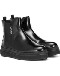 Prada - Leather Ankle Boots - Lyst