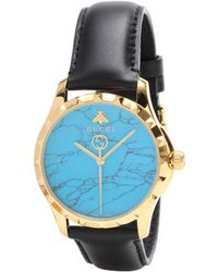 Gucci - G-timeless Le Marché Des Merveilles 38mm Pvd-plated And Leather Watch - Lyst