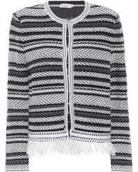 Tory Burch - Payton Striped Cotton Cardigan - Lyst