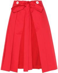 Miu Miu - Pleated Cotton Skirt - Lyst