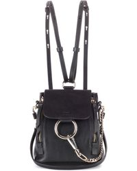 Chloé - Faye Mini Leather And Suede Backpack - Lyst