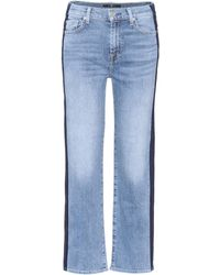 7 For All Mankind - Kiki Cropped Wide-leg Jeans - Lyst