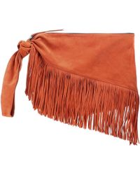 Isabel Marant - Farwo Fringe-trimmed Suede Pouch - Lyst