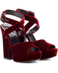 Saint Laurent - Debbie 105 Velvet Sandals - Lyst