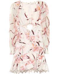 ff57db67b91 Zimmermann Fleeting Puff Sleeve Bauble Dress in Pink - Lyst