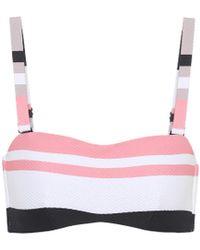 Asceno - Bold Stripe Wrap Bandeau Bikini Top - Lyst