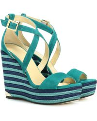 Jimmy Choo - Portia 120 Suede Wedge Sandals - Lyst