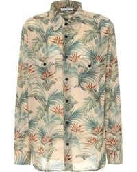 Saint Laurent - Tropical-print Cotton Shirt - Lyst