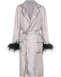 Prada - Feather-trimmed Silk Robe - Lyst