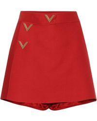 Valentino - Wool And Silk Miniskirt - Lyst