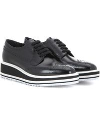 Prada - Wingtip Leather Platform Brogues - Lyst