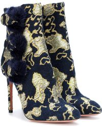 Aquazzura - Exclusive To Mytheresa.com – Sinatra 105 Fur-trimmed Brocade Ankle Boots - Lyst