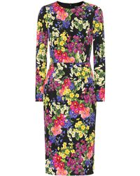 Dolce & Gabbana - Floral Stretch Silk Cady Dress - Lyst