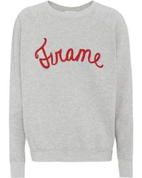 FRAME - Embroidered Cotton-jersey Sweater - Lyst