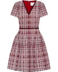 Carolina Herrera - Plaid Flared Knit Dress - Lyst