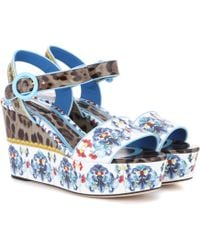 Dolce & Gabbana - Printed Leather Platform Sandals - Lyst